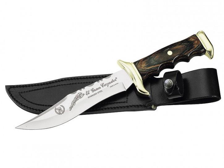 Nieto Messer, Klinge 18 cm, Pakkaholz, Messingbeschläge, Lederscheide