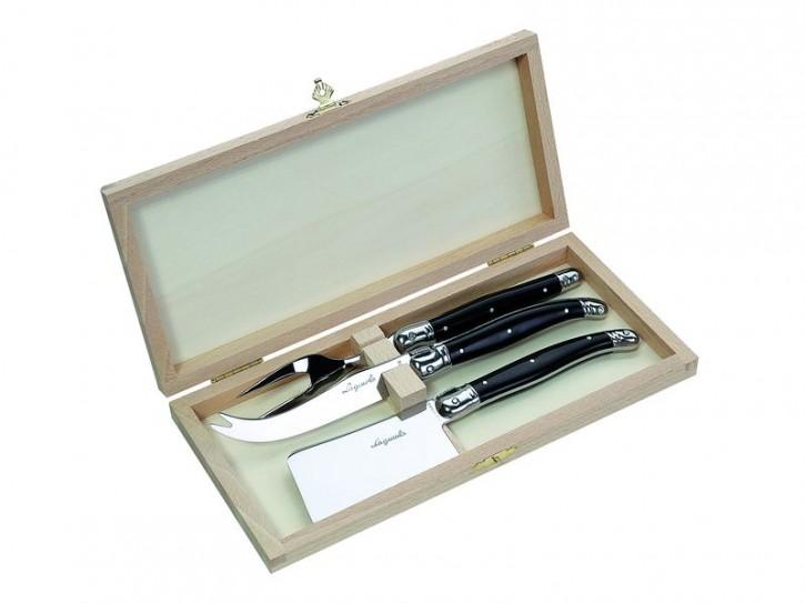 Laguiole Käsemesser-Satz, Kunststoff Griffschalen, schwarz, Holzbox mit 1 Gabel, 1 Weichkäsemesser, 1 Hartkäsemesser