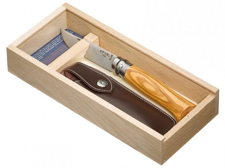 Opinel-Geschenkset inkl. Opinel-Messer Nr. 8,Kunstleder-Etui in Holzgeschenkbox