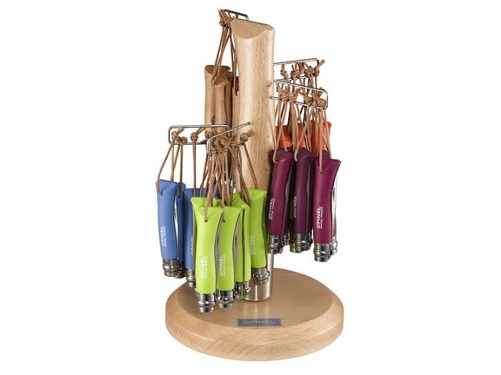 Opinel Display, mit 60 Messern, je 12 Stck. Größe 7 natur, violett, blau, grün und orange