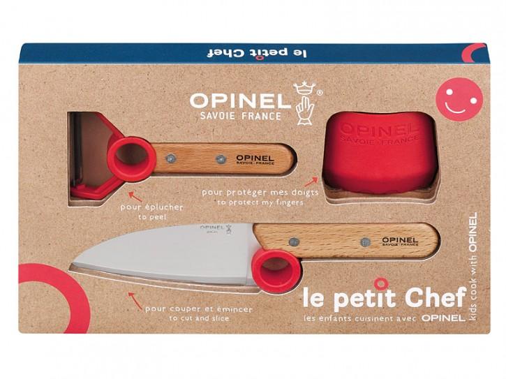 Opinel Le petit Chef, Küchenmesser-Set, 3-teilig, Kochmesser, Fingerschutz, Sparschäler, rostfrei