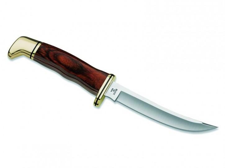 Buck Messer Personal, 420 HC-Stahl, Cocobolo-Holz Griff Messingbeschläge, braune Lederscheide