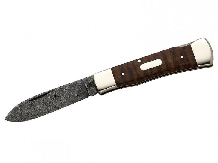 Hartkopf-Taschenmesser, 300-lagige Rosendamast-Klinge, Schlangenholz, Neusilberbacken, Gravurplättchen