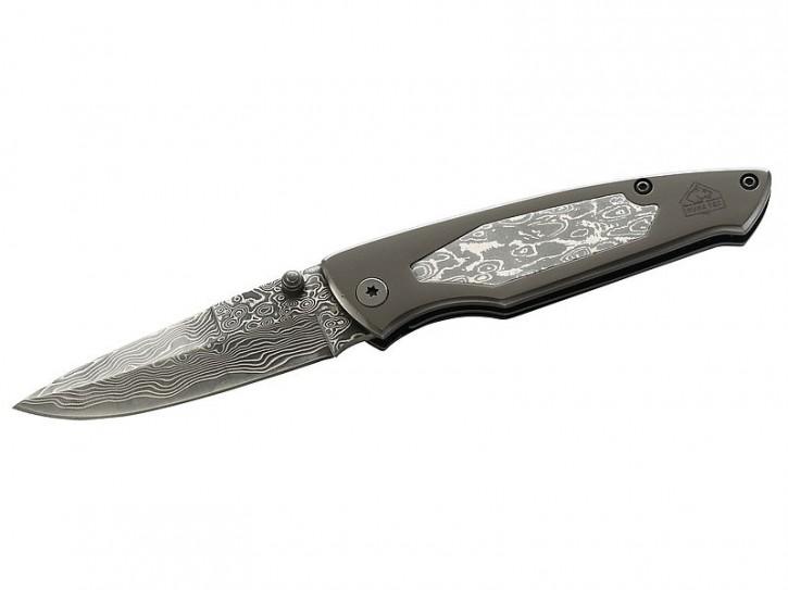 Puma TEC Einhandmesser, Damaszenerklinge, Damaszenereinlage 73 Lagen, Liner Lock