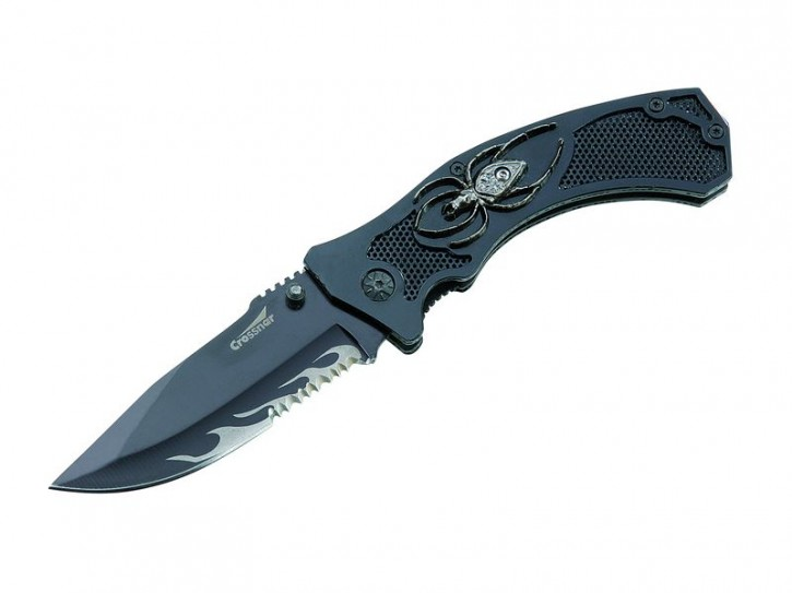 Crossnar-Einhandmesser, Stahl AISI 420, Teilsägezahnung, Liner Lock, Spinne, Aluminium-Griffschalen, Box