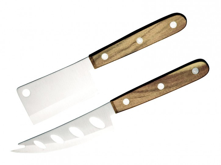 Taylor's Eye Käse Messer-Set, Akazienholz-Schalen 1 Weichkäsemesser, 1 Hartkäsemesser