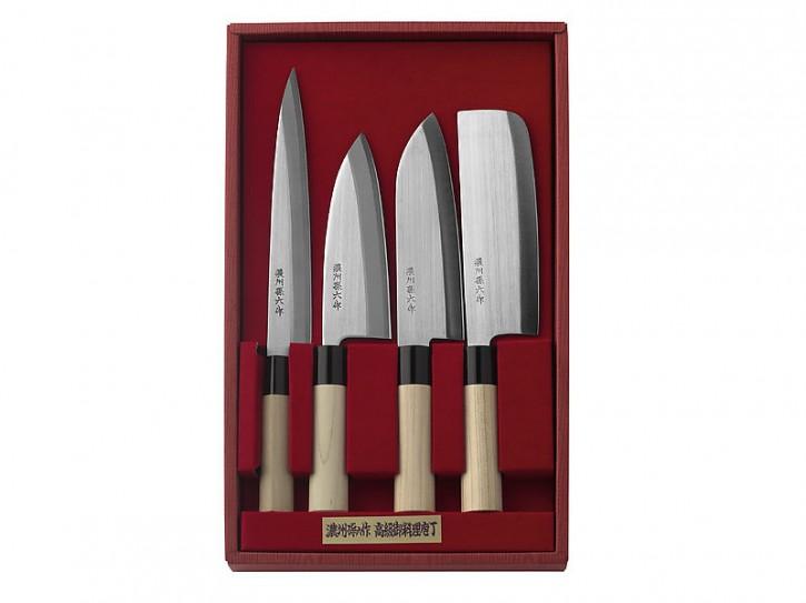 Herbertz 4-teiliges Set japanischer Kochmesser, Stahl 420J2, Holzgriffe, Kunststoff-Zwingen