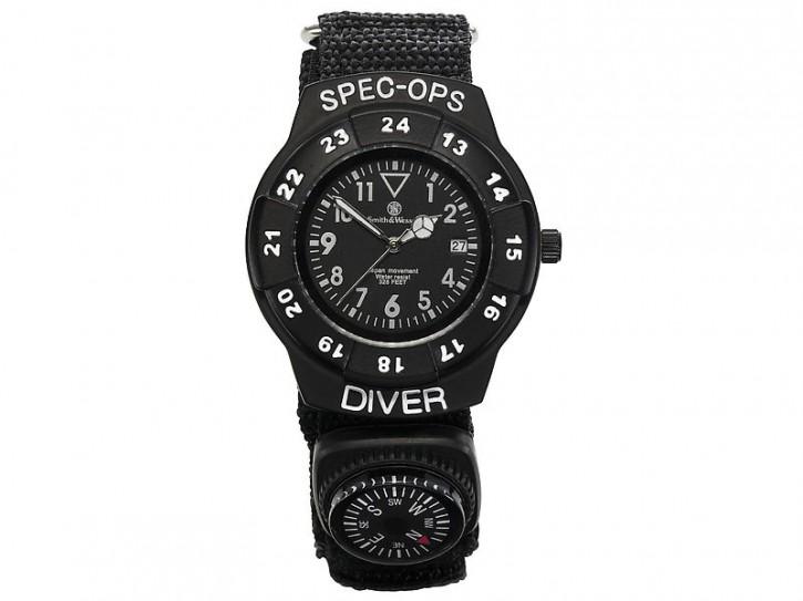 Smith & Wesson Special Ops Set, Armbanduhr mit Nylon-Armband und Kompass sowie Einhandmesser, WEEE-Reg.-Nr. DE93223650