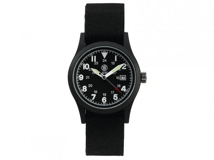 Smith and Wesson, schwarze Uhr, Militär, Wechselarmbänder, WEEE-Reg.-Nr. DE93223650