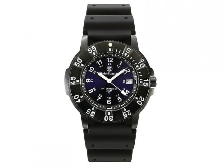 Smith and Wesson Uhr, Sport Blue, Tritium, Datumsanzeige, 2 Armbänder, wasserdicht bis 200 m, WEEE-Reg.-Nr. DE93223650