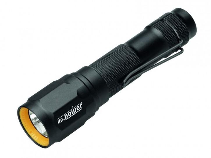 de.power LED Taschenlampe, Cree LED, 2 Modi, 2x CR123-Batterien, 313 Lumen nach Ansi FL-1