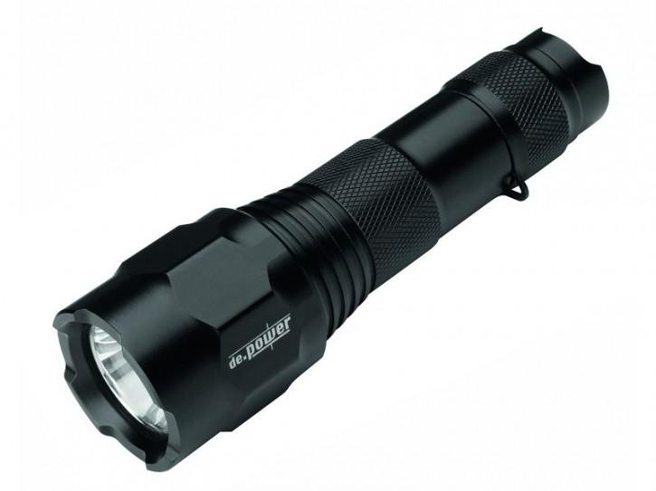 de.power LED Taschenlampe, Cree-LED, 2 Modi 1x CR123 oder 1x AA verwendbar, 271 Lumen nach Ansi FL-1