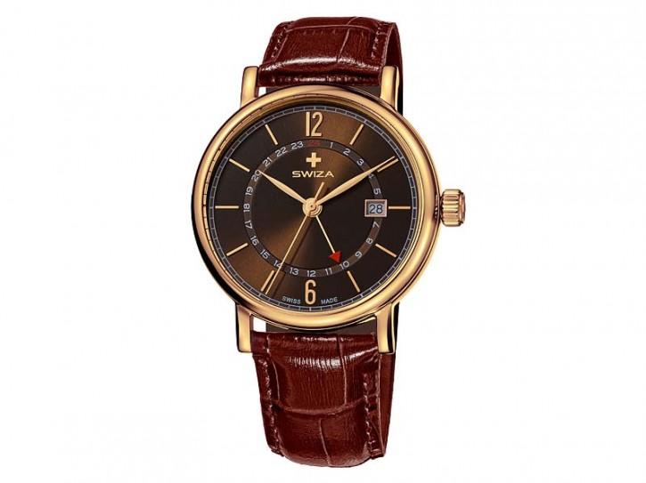 Swiza Uhr Alza GMT, Schweizer Qualitäts-Quarzlaufwerk, Gehäuse Edelstahl, goldene PVD-Beschichtung, braunes Band