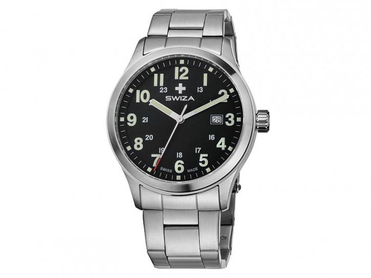 Swiza Uhr Kretos Gent, Schweizer Qualitäts-Quarzlaufwerk, Gehäuse Edelstahl 316L, gebürstet/poliert, Edelstahl-Band