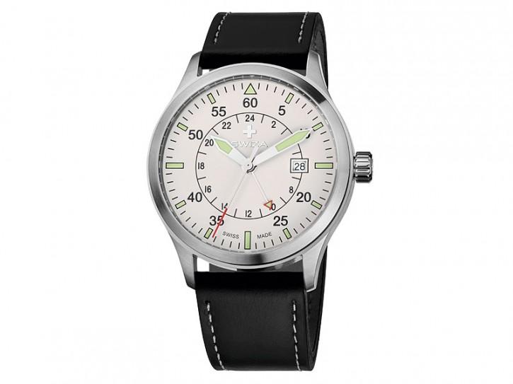 Swiza Uhr Siriuz GMT, Schweizer Qualitäts-Quarzlaufwerk, Gehäuse Edelstahl, 2. Zeitzone, schwarzes Band, weiße Naht