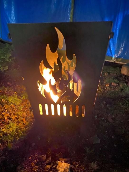 Feuerkorb Feuerschale Feuersäule aus 3 mm Stahlblech mit Flammen Motiven