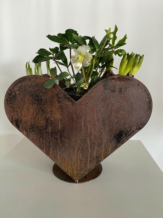 Herz aus Metall Edel-Rost Garten Terrasse Deko Blumentopf