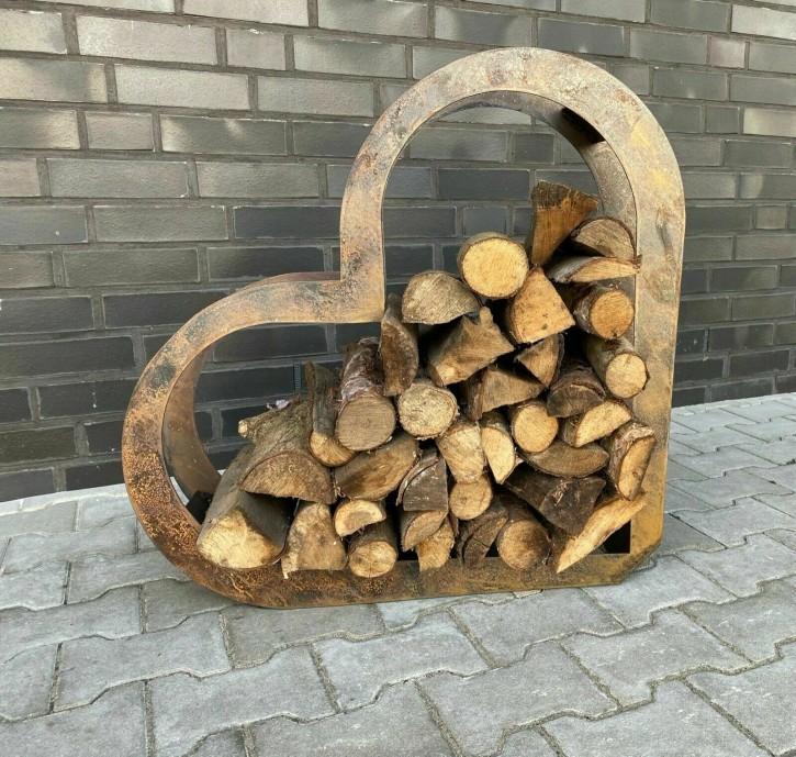Herz aus Metall, Holz-Regal, Edel-Rost, Garten Terrasse, Deko XL