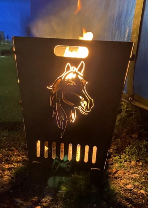 Feuerkorb Feuerschale Feuersäule aus 3 mm Stahlblech mit Pferd und Hund