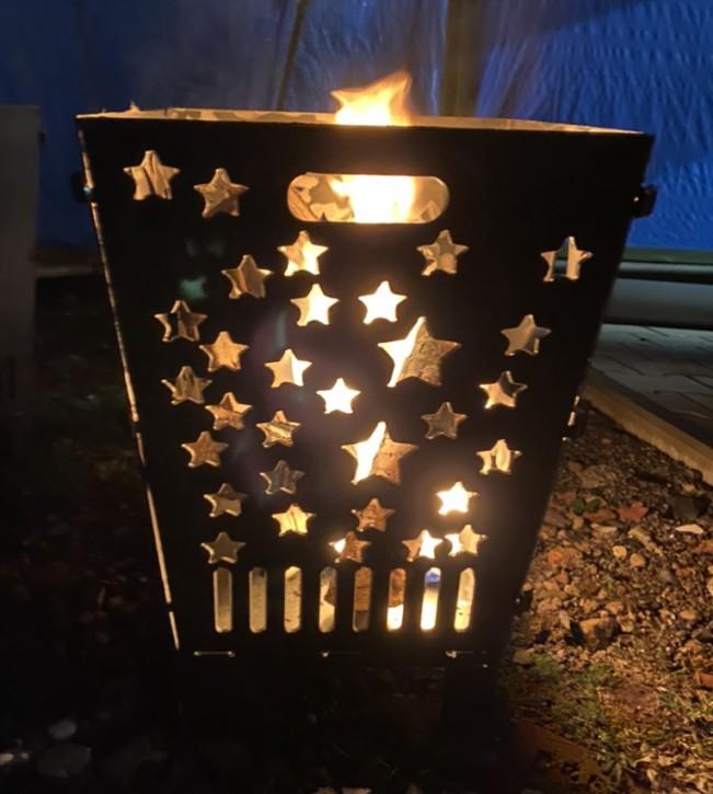 Feuerkorb Feuerschale Feuersäule aus 3 mm Stahlblech mit Mond und Sterne