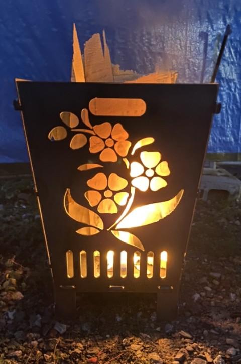 Feuerkorb Feuerschale Feuersäule aus 3 mm Stahlblech mit Blumen Motiven