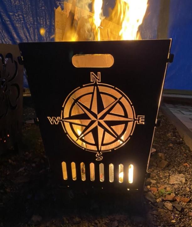 Feuerkorb Feuerschale Feuersäule aus 3 mm Stahlblech mit Kompass und Blue Marlin