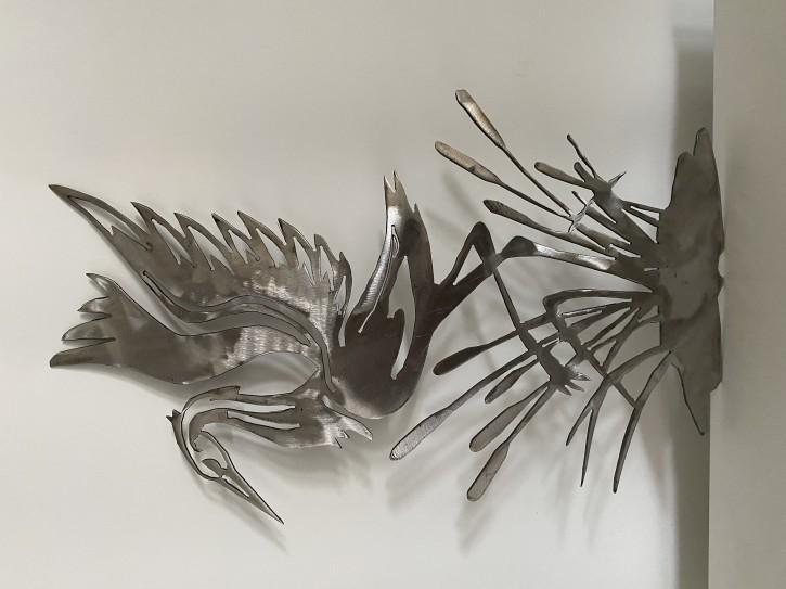 Deko Storch aus Metall für Haus und Garten die Deko